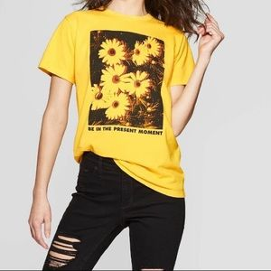 """Be in the Present"" Flower T-Shirt *NWOT (Adult M)"